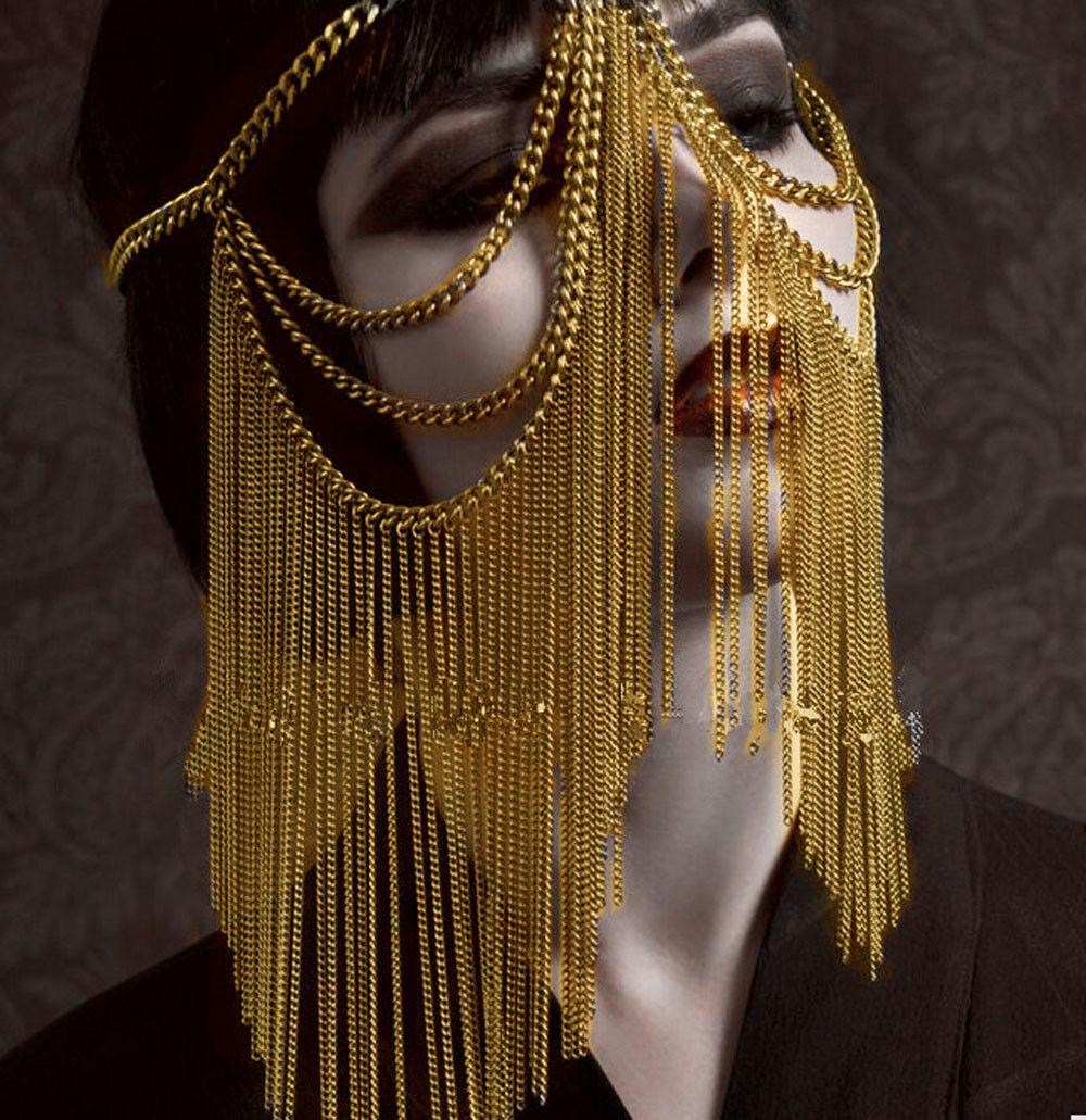 Women Gold Chains Tassel Head Chains Unique Design Long Punk Chains Jewelry