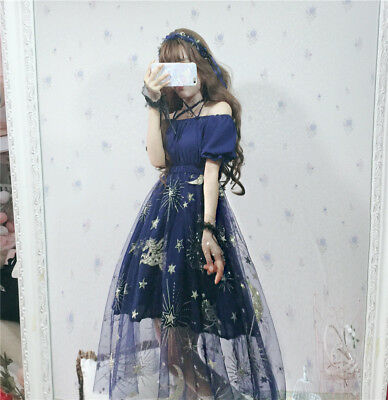 Harajuku Style Off Shoulder Gauze Dress Sweet Lolita Starry Sky Skirt One Piece