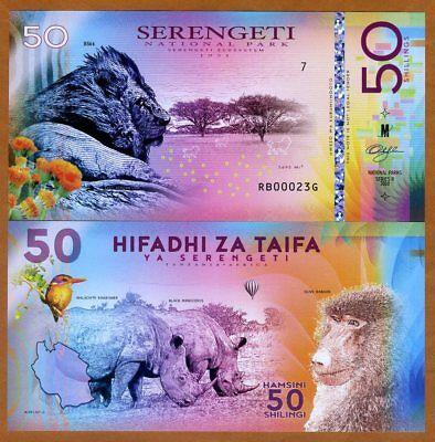 Tanzania, Serengeti National Park, 50 Shillings, Polymer, 2018 > Lion, Rhino