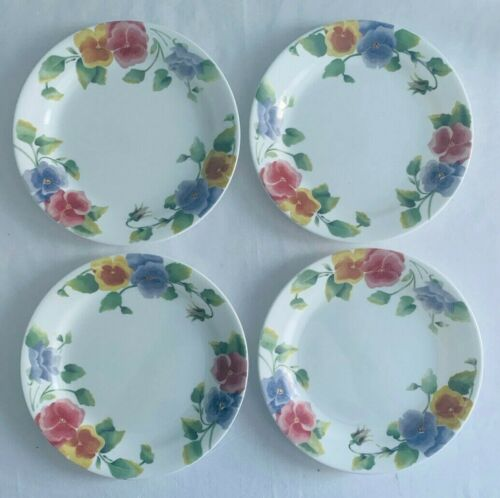 """Corelle SUMMER BLUSH Set Of 4 SALAD PLATES 7 1/4"""" Outstanding Condition"""