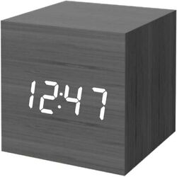 Digital Alarm Clock, Wood LED Light Mini Modern Cube Desk Alarm Clock (Black)