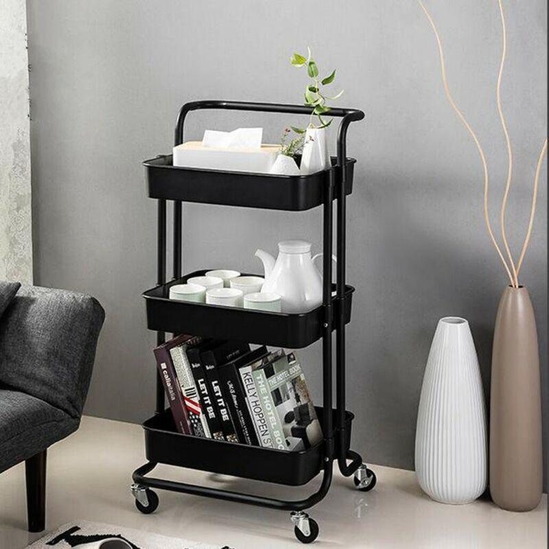 3-Tier+Storage+Rolling+Trolley+Cart+Storage+Shelf+4+Wheels+Bathroom+Kitchen+UK