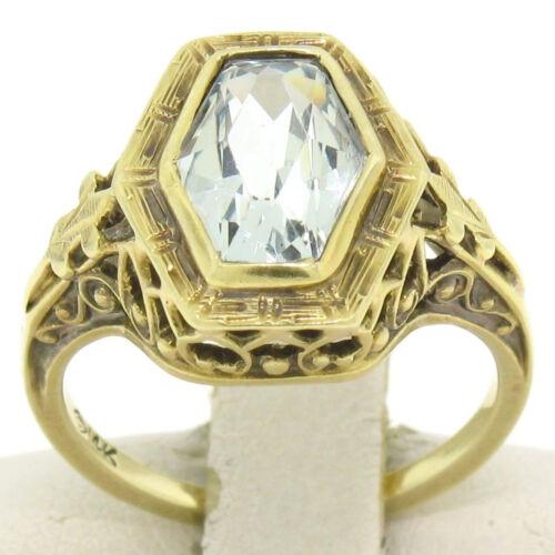 Antique Art Deco Rare Filigree 14k Solid Yellow Gold Aquamarine Solitaire Ring