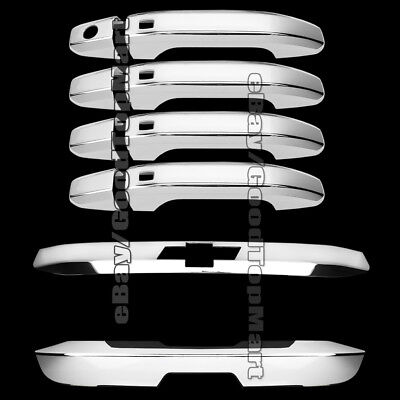 For 2015 2016 Chevy TAHOE Chrome Covers 4 Door Handles + 2PC Top Bottom Trunk