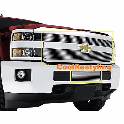 FOR 2015 2016 2017 2018 Chevy Silverado 2500 3500 HD Billet Grille Grill Combo ()