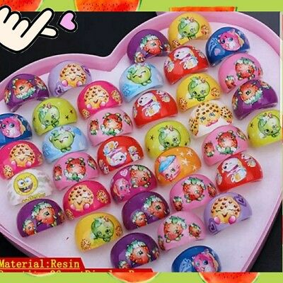 From USA 20Pcs Mixed Unisex Kids Heart Shaped Shopkins Resin Plastic Cartoon