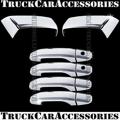 For CHEVY Silverado 2014 2015 2016 Chrome Covers Half Mirrors+4 Door Handles PSK