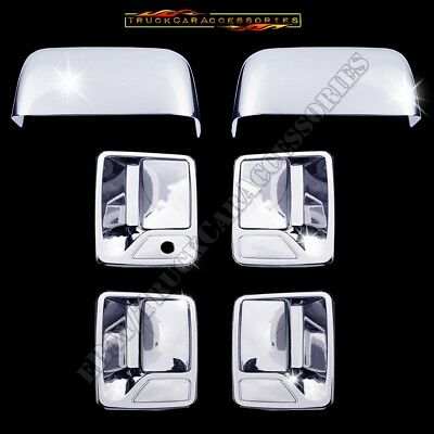 FOR 99-16 FORD F250 F350 F450 F550 SUPERDUTY 4DR CHROME DOOR HANDLE COVERS TRIM