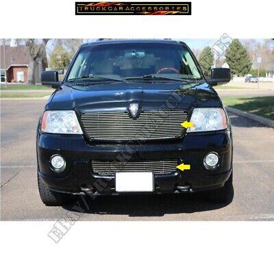 FOR LINCOLN NAVIGATOR 2003 2004 Upper+Bumper BILLET GRILLE INSERT Cut out Style - Lincoln Navigator Bumper Grille