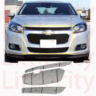 For 2014 2015 Chevy Malibu Black Billet Grille Grill Combo Inserts Overlay Style