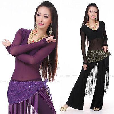 Neue Belly Dance Outfit 3 Teiler Top, Gürtel & Hose Yoga Top Bauchtanz - Yoga Tanz Kostüm
