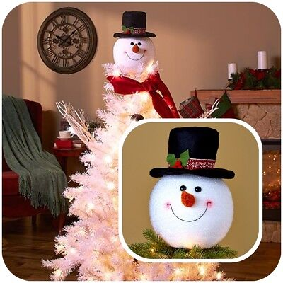 Snowman Head Christmas Tree Topper Holiday Festive Ornament Decoration Frosty