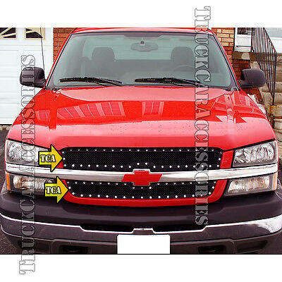 For 2003-2004 2005 CHEVY Silverado 1500 SS/2500/3500 Black Mesh Studs 2PC Grille