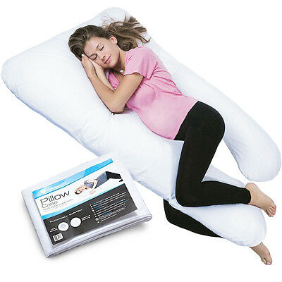 PharMeDoc Full Body Pregnancy Pillow w/ Extra Cover (2 Covers Total) - U-Shaped