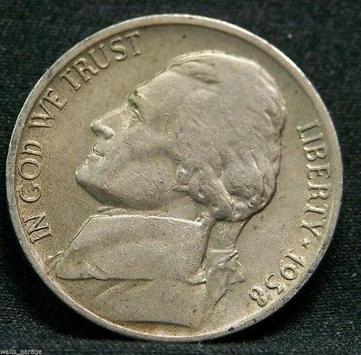 - 1938 D Jefferson Nickel, Key Date, Above Avg Circulated, Low Mintage-5.3 Mil