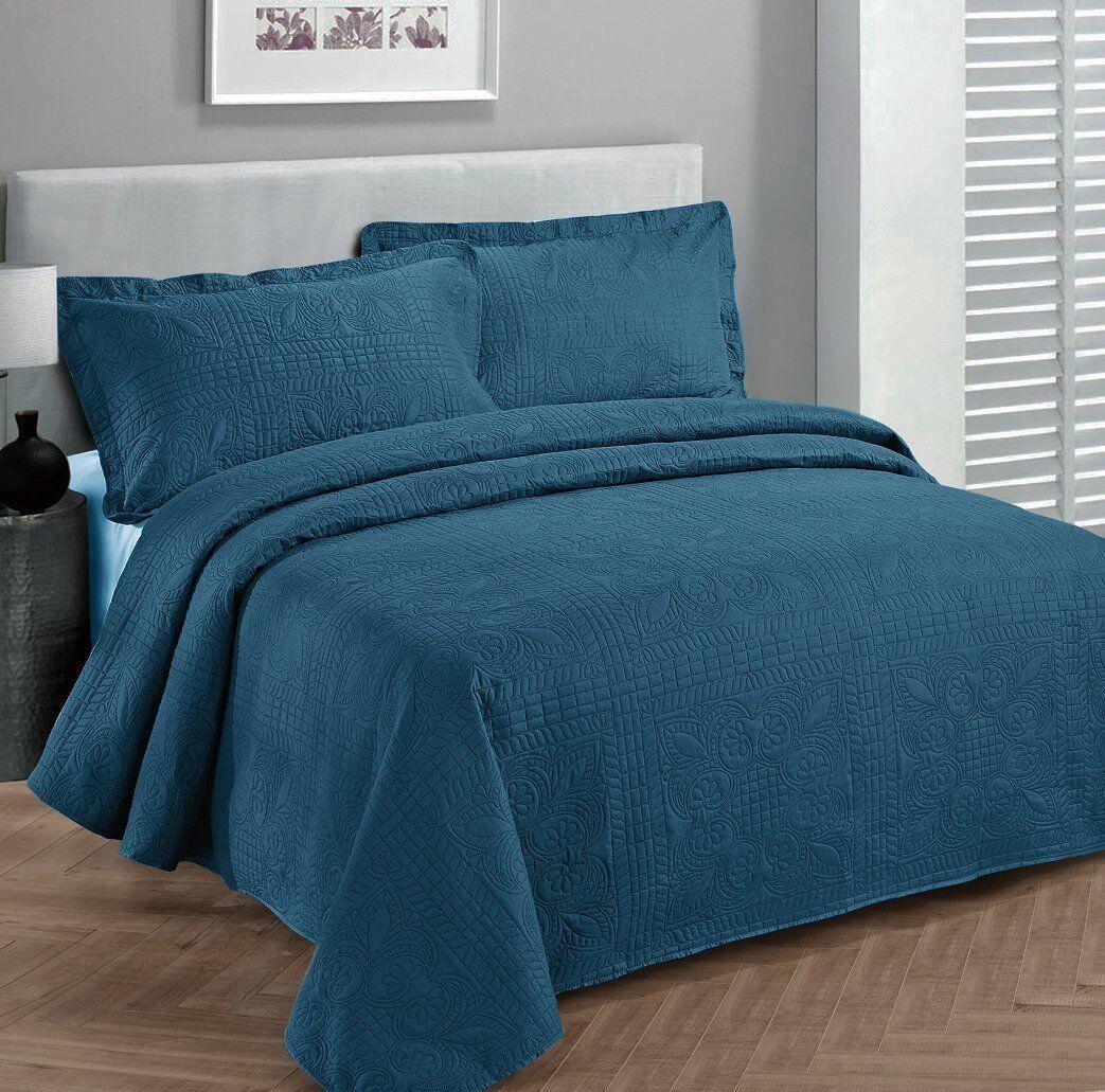 Fancy Linen Oversize Luxury Embossed Bedspread Solid Blue Al