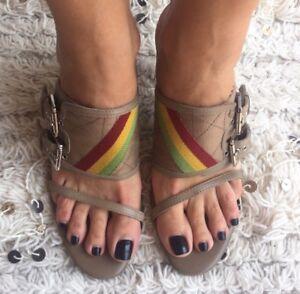 Christian DIOR Rasta Reggae Jamaica Hip Hop Bag Stripe Heels Shoes Sandals 39