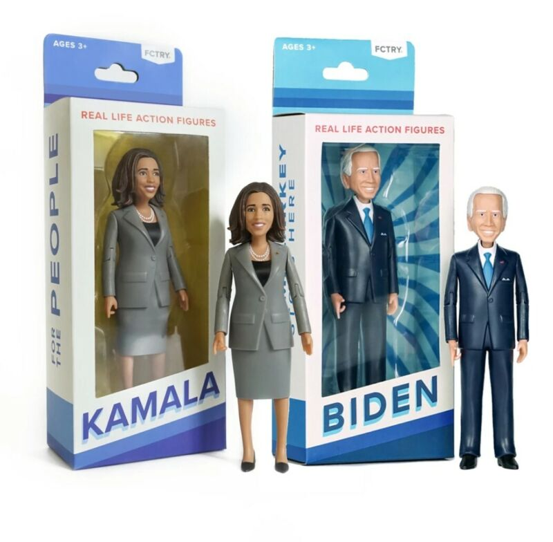 "Joe Biden + Kamala Harris Action Figures 6"" New in box"