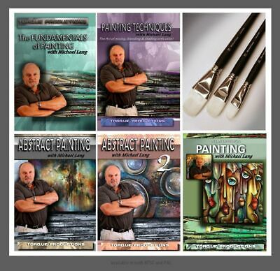 Michael Art Supply (Art Supplies Michael Lang Painting Instruction 5 DVD set plus 3 M.Lang Brush)