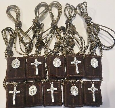 10 Brown Wool Catholic Scapular s + St. Benedict Crucifix & Miraculous Medal