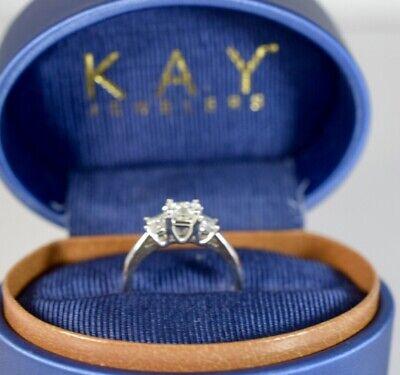 KAY LEO CERTIFIED 3 Stone Princess Diamond Engagement Ring VS1 S-7 WG 14K PLAT (3 Stone Vs1 Ring)