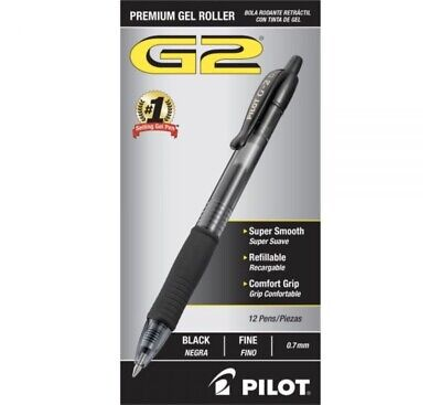 Pilot G2 Premium Gel Roller Ink Pens Fine 0.7 Black 12ct New Free Shipping