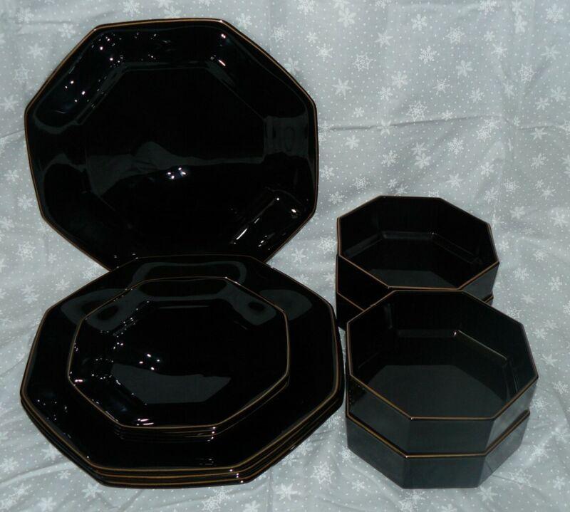 12 Piece Set Arcoroc Octime Shanghai Dinnerware Black Gold Trim Service for 4