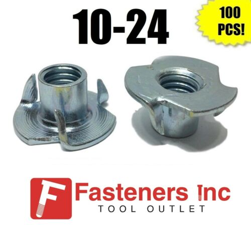 "(Qty 100) 3 Prong T-Nut 10-24 x 5/16"" (Tee Nut) Zinc Plated"