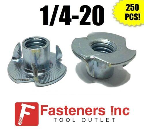 "(Qty 250) 3 Prong T-Nut 1/4""-20 x 7/16"" (Tee Nut) Zinc Plated"
