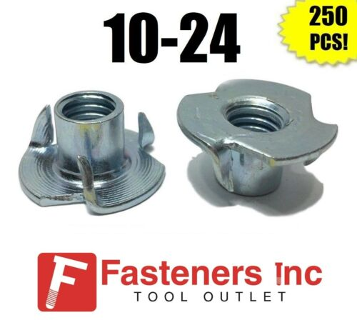 "(Qty 250) 3 Prong T-Nut 10-24 x 5/16"" (Tee Nut) Zinc Plated"