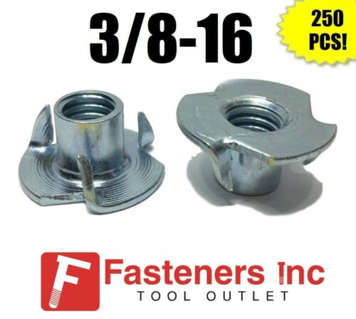 "(Qty 250) 3 Prong T-Nut 3/8""-16 x 7/16"" (Tee Nut) Zinc Plated"