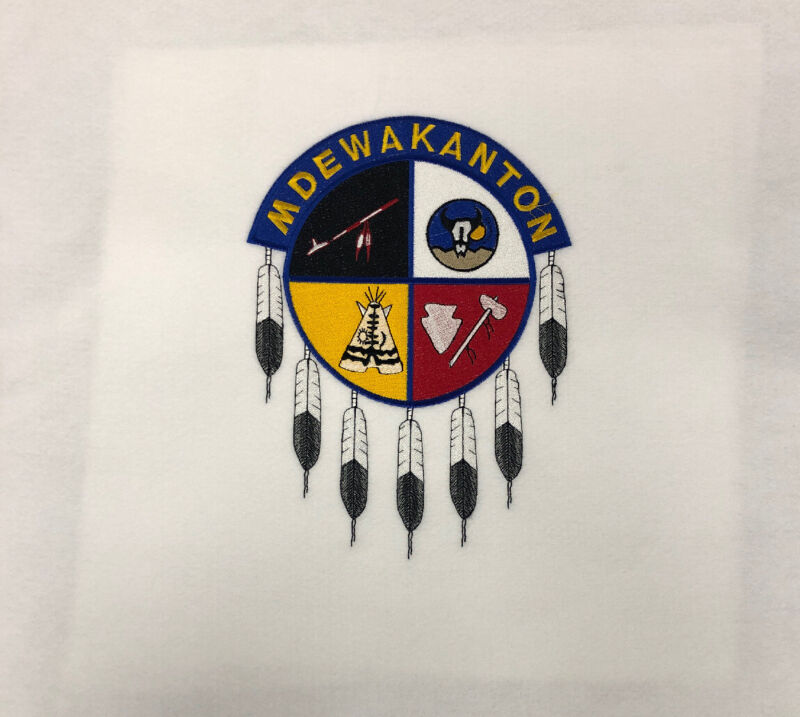 Shakopee Mdewakanton Sioux Embroidered Patch on White Large Felt