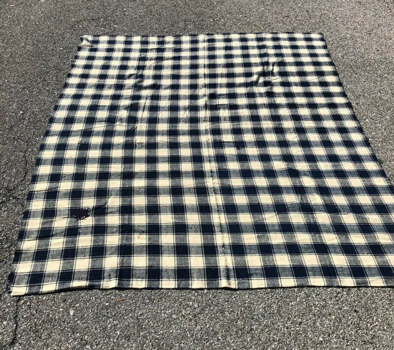 Antique Homespun Woolen Blanket Loom Woven XL 96x80 Blue & Ivory Plaid Mixed Old