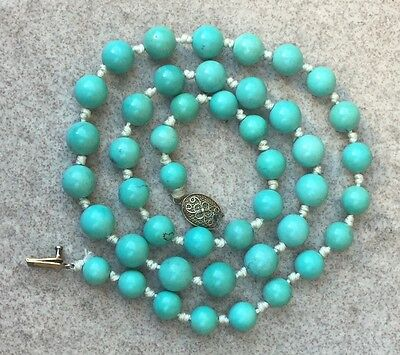 Vintage Chinese Natural Turquoise Beads Necklace SILVER Clasp 35 Grams