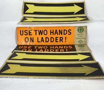 Vintage Industrial Safety Stickers Arrows Ladder Warehouse W H Brady Steam Punk