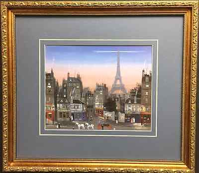 "Michel Delacroix ""EIFFEL TOWER"" Newly CUSTOM FRAMED Lithograph  PARIS ART Print"