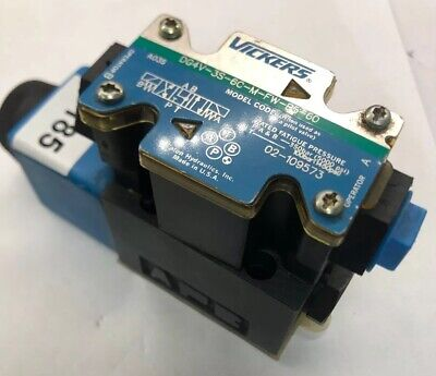 Vickers DG4V Series Solenoid Operated 4 Way Hydraulic Valve Closed Spring Offset Spool Type 5075 psi Maximum Pressure 21 gpm Flow Rate 110-120VAC