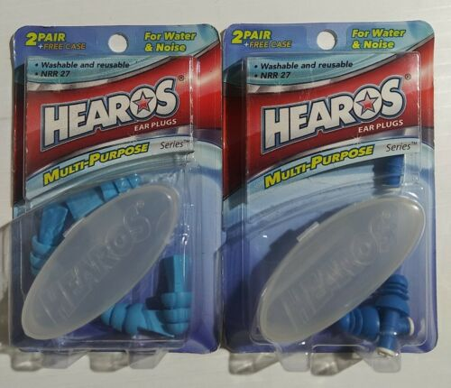 2 Boxes Of HEAROS Multi Use Ear Plugs For Water Or Noise 4 Pair + Cases NRR 27