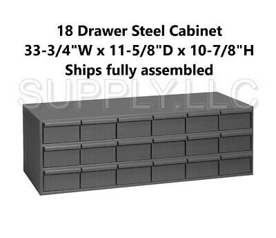 Metal 18 Bin Storage Drawer Cabinet Steel Parts Nuts Bolts Fasteners Screws.