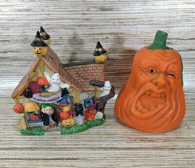 Ceramic Halloween Pumpkin Laboratory House with Happy Ghosts and More Plus Lot