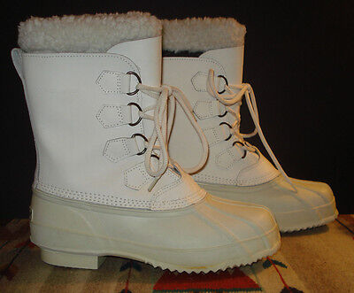 Polaris White Leather Furry Top Wool Felt Liner Winter Boots Sz. 10 EXCELLENT!