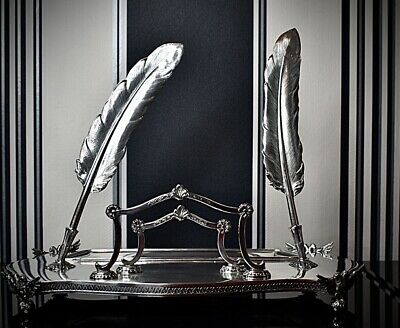 Stunning Spanish Solid Silver Desk Set, Letter Rack, Feather Plumes By P Duran