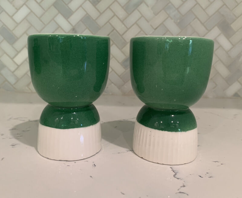 Set Of Two Vintage Kelly Green And White Double Egg Cups