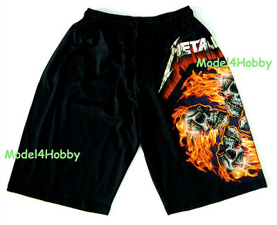 METALLICA Short Pants Black Free Sz HARDROCK HEAVY METAL SKULL FIRE FLAME TATTOO on Rummage