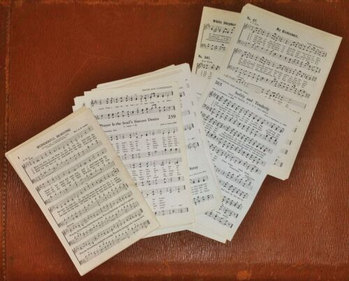 Vintage Mixed Sizes SMALL Sheet Music Old Hymnal Sheets LOT 75 Pages for Crafts
