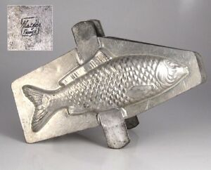 Vintage-French-Tinned-Metal-Chocolate-Fish-Mold-Signed-Matfer-France