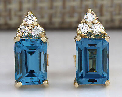 2.65CTW NATURAL TOPAZ AND DIAMOND EARRINGS 14K SOLID YELLOW GOLD