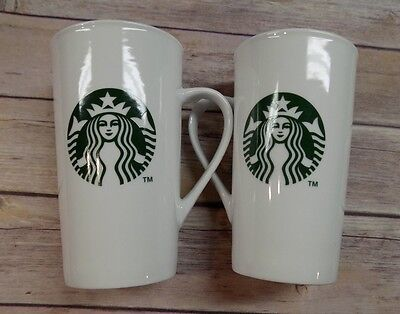 Starbucks 16 oz Tall Travel Coffee Mugs Set of 2 White Green Mermaid Logo 2014
