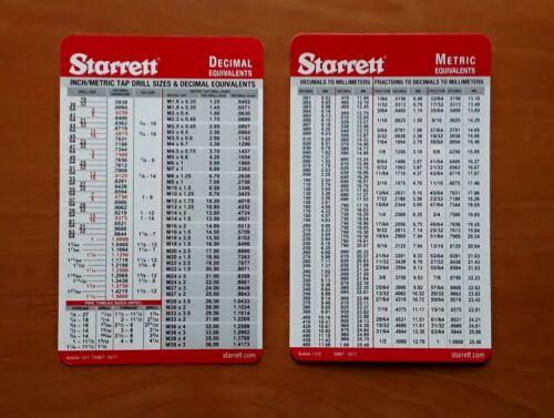 Set of 2 Starrett Machinist Card, Tap Drill Sizes Decimal and Metric Conversion