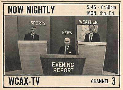 1967 Tv Ad News On Wcax In Burlington Vermont Now Nightly Sports   Weather